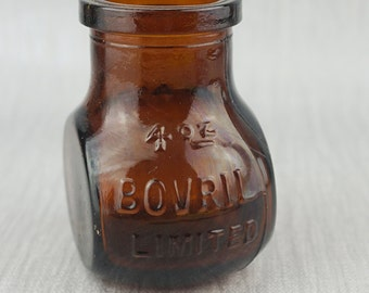 Victorian Brown Glass Bovril Bottle 4oz