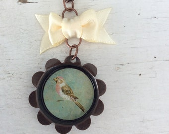 Pink Breasted Robin Necklace/Woodland/Nature/Boho