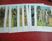 10 Vintage American Soldier Art Prints 1700 thru 1800