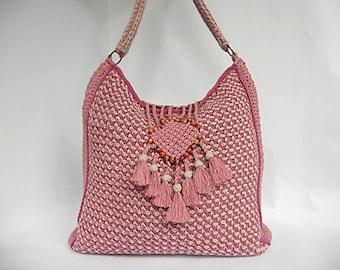 PDF tunisian crochet pattern COLORES de ROSAS bag