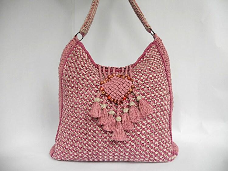 Tunisian crochet PDF pattern Colores de rosas bag by Luganika