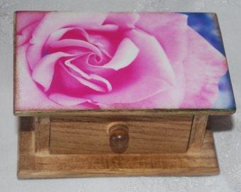 wood photo box, pink rose box
