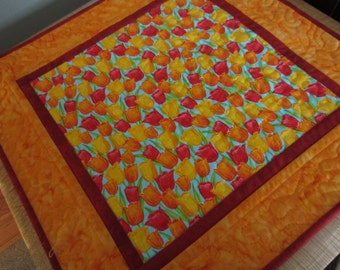 Spring tulips quilted table runner