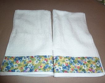 Floral Hand Towels, Forget Me Nots on Yellow, Decorative Hand Towels (Set of 2)  for Kitchen, Bath or Powder Room