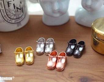 Supabonbon Blythe Licca Azone Silver T-strap Shoes Accessories Dollhouse