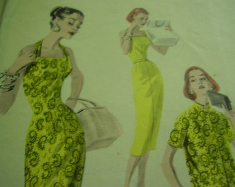 Vintage 1950's Butterick 7757 Sheath and Jacket Duo Sewing Pattern, Size 14, Bust 32