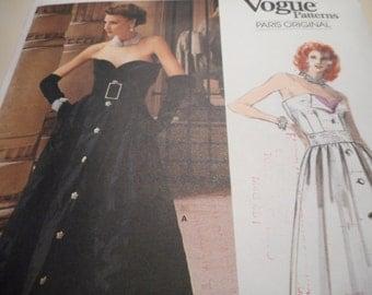 Vintage 1980's Vogue 1653 Paris Original Nina Ricci Evening Gown Sewing Pattern Size 12 Bust 34
