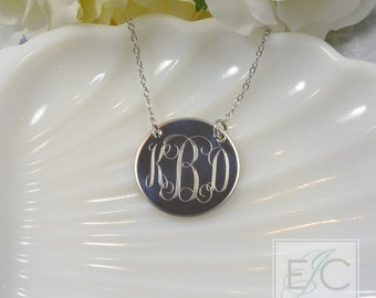 "Engraved 1"" monogram necklace, gorgeous quality by ElizaJayCharm"