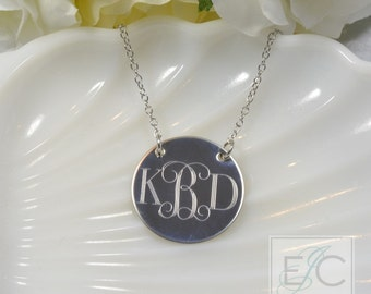 """Engraved 1"""" duo style monogram necklace, gorgeous quality by ElizaJayCharm"""