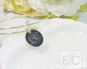 engraved stainless steel bangle monogram bracelet by ElizaJayCharm