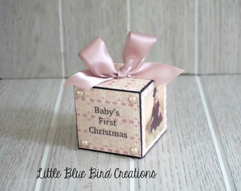 Baby's First Christmas Personalized wooden block for wedding, birth, special event-home decor - christmas ornament