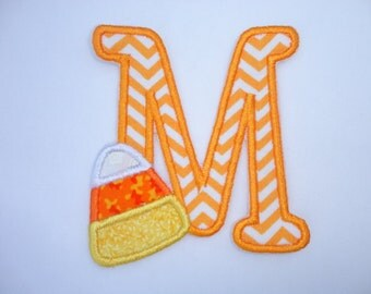 Candy Corn Patch, Initial Candy Corn Iron On Patch, Halloween Patch, Fall Patch, Birthday Patch, Halloween Appliqued Iron On Patch