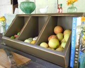 Storage- Kitchen Storage Boxes Primitive Rustic Country Chic 3 bin #11 Brown -MADE TO ORDER
