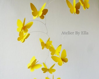 Yellow 3D Butterflies, Hanging mobile, Kinetic , Home decor