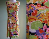 1960's Psychedelic Shift Dress - Vintage 60s Dress - Medium - Go Go