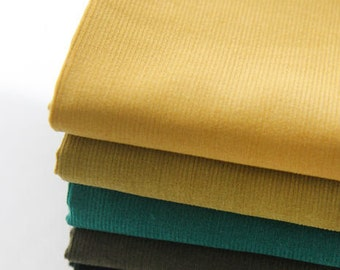 Fine Wale Cotton Corduroy - Yellow Camel, Emerald Green, Khaki or Teal Green - By the Yard 82762
