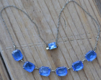 Lovely rare antique art deco open back sapphire blue crystal silver necklace / wedding / something old / KWIQTT