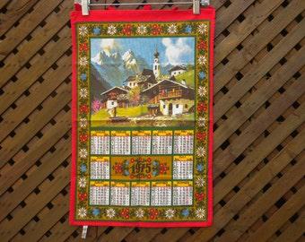"Vintage 70s 1975 Calendar Towel Swiss Chalet Mountain View 15""x22"""