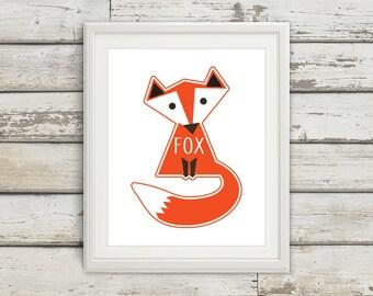Fox, Fox Tail, Fox Wall Art, Fox Print, Fox Poster, Fox Kids, Nursery, Nursery Wall Art, Nursery Decor, Fox Nursery, Fox Kids Wall Art
