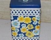Vintage Equal Tin - 1989 - Blue Yellow White - Flowers - Collectibles -  Kitchen Decor - Kitchen Storage