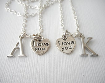 2 TINY I Love You, Initial Necklaces (Set)/ Boyfriend Girlfriend, Couples Necklace, Girlfriend Gift, Love Anniversary