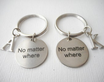 2 No Matter Where, Initial Best Friends Keychains (Set)/ travel jewelry, long distance friend, moving away gift, far, journey