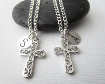 2 Cross, Initial Best Friends Necklaces (Set)
