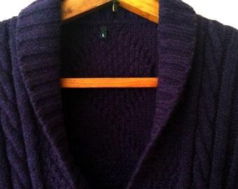 Grandma Cardigan/Vintage Cardigan/Dark Purple Cardigan/Wool Cardigan Sweater/Cable Knit Cardigan/Shawl Cowl Cardigan/Button Down Sweater