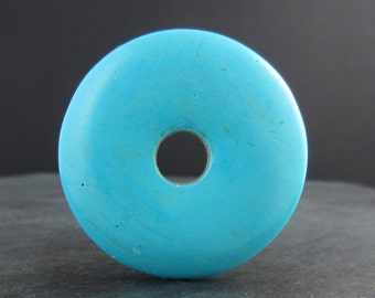 Large turquoise howlite Donuts cabochon, Focal piece , , semiprecious  Gemstone, Jewelry making Supplies B5831