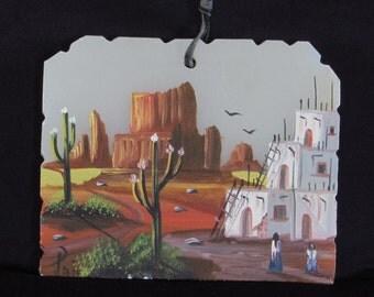 Serene Southwest American Indian - Spanish - Painting - Adobe Home - Mountains - Saguaro Dessert Cacti - Vintage Southwestern Home Decor