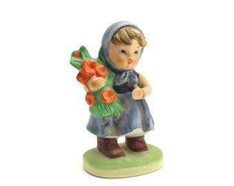 Vintage Napco Girl Figurine, Hummel Look Figurine, Girl with Flowers, Blue Girl, Our Children Figurines, Napcoware,  Epsteam