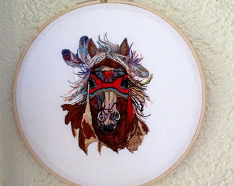 Embroidered Fantasy Horse Hoop Art 8""