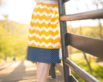 Girls Skirt - Chevron Skirt - Polka Dot Skirt - Yellow Chevron Skirt - Blue Polka Dot Skirt - Girls Polka Dot Skirt - Girls Chevron Skirt