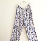 Vintage Indigo Floral Drawstring Palazzo Pants // High Waist Gauze Pant // Wide Legged Pants // 90s