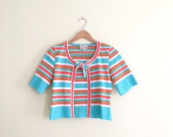 Vintage 70s Cropped Cardigan // Turquoise & Pink Striped Knit Cardigan Top