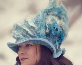 Wizard Hat - Boho Romantic Winter Hat made of Wool Felt for Advanced Style Souls