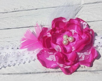 Hot pink flower and lace baby headband with feathers