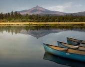 Mountains, Lake, Canoes, nature, landscape, photography