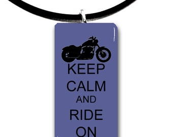 motorbike, Keep Calm and Ride on, Motorcycle riding, glass tile pendant, biker chick, motor, biker, ride,rider,