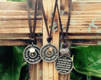 Short deer skin leather necklace, mustard seed coin pendant, handmade leather necklace, leather mustard seed necklace, mustard seed charm