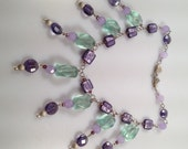 FRINGED Necklace Sea Foam Lavender Glass FOIL Beads Inspired by Amber IBA