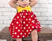 MInnie Mouse inspired dress red and white polka dot toddler girls dress disney florida California cruise ckchattie