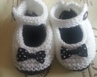 Hand Knitted Black and White Baby Mary Jane Shoes