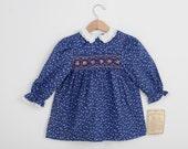 Vintage Smocked Dress by Carousel in Calico 3T / Prairie Dress /Prairie Costume