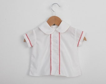 Vintage Baby Shirt in White with Red  Trim 9 Months