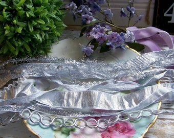 Silver Ribbon Assortment, Ribbon Collection, Silver Ribbons, Silver, Silver Trims, Silver Trim Collection, Silver Ribbon Collection, Elegant