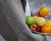 Ikat organic mud gray handwoven shawl/scarf : big dot ikat