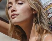 Zia Quartz Crystal Earrings  //onyx, turquoise,  bohemian earrings, festival jewelry, boho jewelry, meaningful, jewelry with meaning