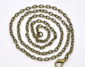 12pc 20 inch antique bronze finish Flat  Link  ready to wear necklaces-7394A
