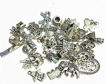 Amazing Deal-40 pcs mix size and pattern antique silver jewelry findings-B35